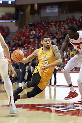 "27 January 2018:  Tevonn Walker defended by Daouda ""David"" Ndiaye during a College mens basketball game between the Valparaiso Crusaders and Illinois State Redbirds in Redbird Arena, Normal IL"