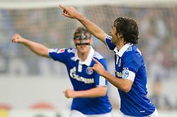 19.11.2011, Veltins Arena, Gelsenkirchen, GER, 1. FBL, FC Schalke 04 vs 1. FC Nuernberg, im Bild Jubel Klaas-Jan Huntelaar (#25 Schalke), Raul (#7 Schalke) nach dem 2-0 // during FC Schalke 04 vs. 1. FC Nuernberg at Veltins Arena, Gelsenkirchen, GER, 2011-11-19. EXPA Pictures © 2011, PhotoCredit: EXPA/ nph/ Kurth..***** ATTENTION - OUT OF GER, CRO *****