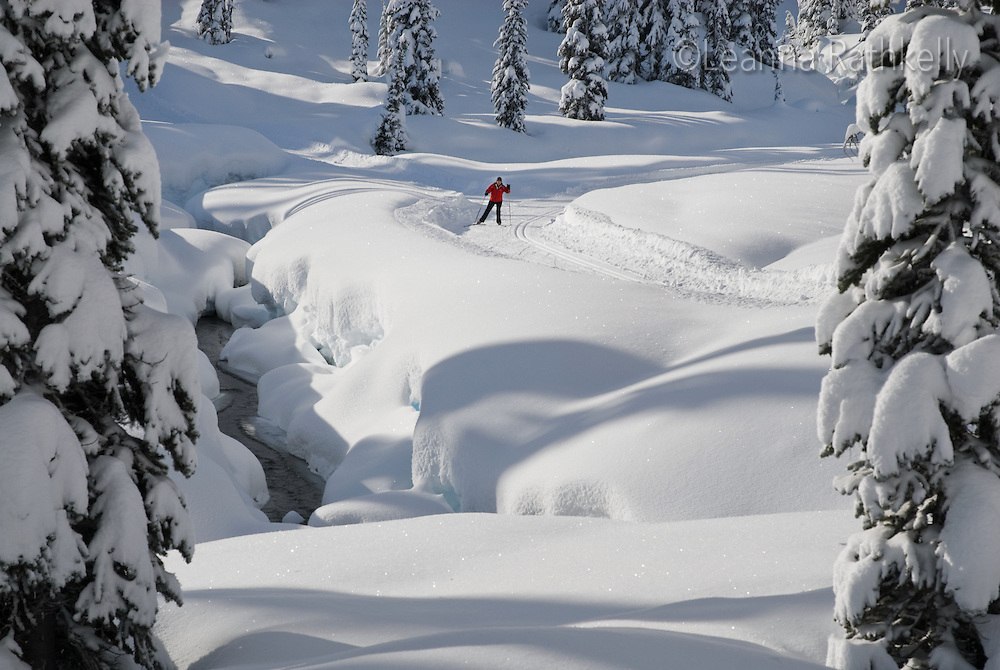 Marianne Cankovic skis the Solitude Lake trail in the Callaghan. The Callaghan Country ski lodge is located 10 minutes south of Whistler, BC Canada, up the Callaghan Valley and next to the Whistler Olympic Park.