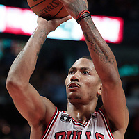 30 October 2010: Chicago Bulls Derrick Rose is seen at the free throw line during the Chicago Bulls 101-91 victory over the Detroit Pistons at the United Center, in Chicago, Illinois, USA.