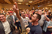 November 8, 2016. Republican supporters celebrate Donald Trump's win for the presidency of the United States in a hotel in Downtown Phoenix, AZ. Spot News, General News images for Newspapers by Photojournalist Pablo Robles.