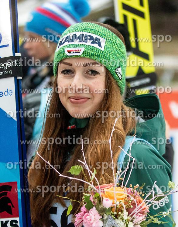 Third placed Juliane Seyfarth of Germany at trophy ceremony during Day 3 of World Cup Ski Jumping Ladies Ljubno 2019, on February 10, 2019 in Ljubno ob Savinji, Slovenia. Photo by Matic Ritonja / Sportida