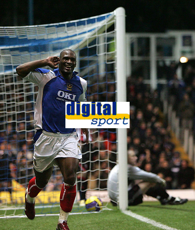 Photo: Lee Earle.<br /> Portsmouth v Sheffield United. The Barclays Premiership. 23/12/2006. Portsmouth's Noe Pamarot celebrates after scoring their third.