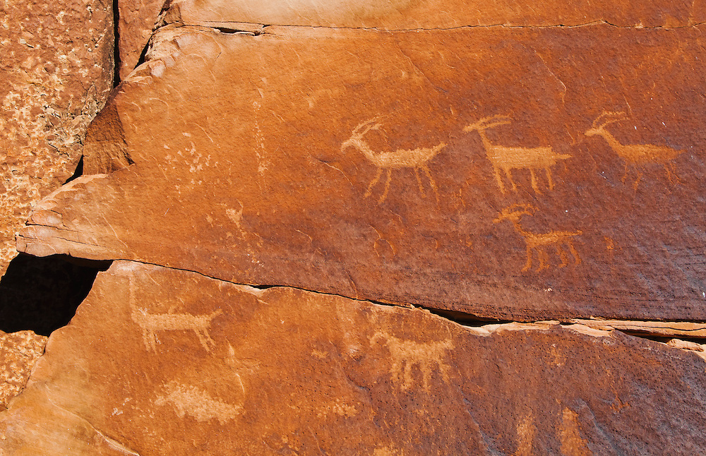 Petroglyphs in Indian Creek Canyon, Utah, USA.