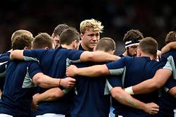 David Denton of Scotland looks on in a post-match huddle - Mandatory byline: Patrick Khachfe/JMP - 07966 386802 - 23/09/2015 - RUGBY UNION - Kingsholm Stadium - Gloucester, England - Scotland v Japan - Rugby World Cup 2015 Pool B.