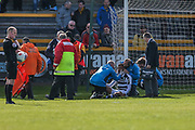 Forest Green Rovers Curtis Tilt(2) receives treatment during the Vanarama National League match between Southport and Forest Green Rovers at the Merseyrail Community Stadium, Southport, United Kingdom on 17 April 2017. Photo by Shane Healey.