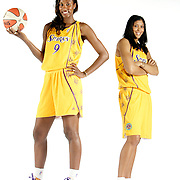 LOS ANGELES, CA, May 1, 2008:  Los Angeles Sparks stars Lisa Leslie, left, and Candace Parker.