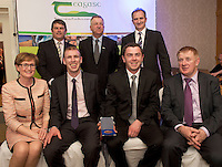 Peter Young IFJ, Prof Gerry Boyle, Director Teagasc and David Small, DARDNI,  and seated <br /> MEP Mairead McGuinness, James Sherlock and Anthony Glynn, from Ar-NuaTec (finalists) and John Concannon JFC at the JFC Innovation awards sponsored by Teagasc, DARD Northern Ireland and the Irish Farmers Journal at the Claregalway Hotel. Photo:Andrew Downes