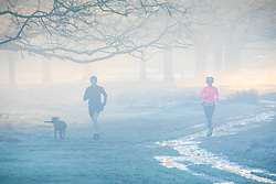 © Licensed to London News Pictures. 18/01/2020. London, UK. Runners enjoy the sun rise in between the trees this morning as dog walkers and families enjoy a wonderful frosty and misty morning in Richmond Park, London. Forecasters predict a cold week ahead as Richmond Park issued a warning for ice after the previous day's high rain fall which could lead to increased slippery conditions for walkers and road users. Photo credit: Alex Lentati/LNP