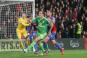 Sunderland defender John OShea looks to get ahead of  Crystal Palace defender Damien Delaney during the Barclays Premier League match between Crystal Palace and Sunderland at Selhurst Park, London, England on 23 November 2015. Photo by Simon Davies.