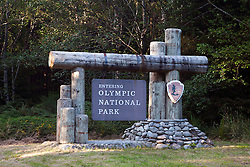 National Park Service welcome sign, Olympic National Park, Washington, United States of America