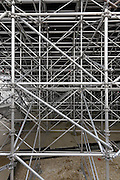 scaffolding construction for a large grandstand seating at an outdoors theater event