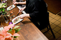 "15 December, 2008. New York, NY. A special seating of five is here in the Open Kitchen of Ed Witt at Bloomingdale Road restaurant. Ed Witt is ""on stage"" for a small birthday party of five people in the open kitchen of Bloomingdale Road's dining room, a New York restaurant. Several restaurants offer special seatings with their celebrity chefs.<br /> <br /> ©2008 Gianni Cipriano for The New York Times<br /> cell. +1 646 465 2168 (USA)<br /> cell. +1 328 567 7923 (Italy)<br /> gianni@giannicipriano.com<br /> www.giannicipriano.com"