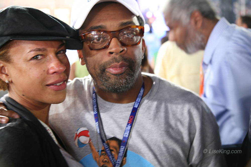 Filmmaker Spike Lee and his wife, Tonya Lewis react with emotion to Barack Obama's democratic presidential nomination speech at the Democratic National Convention, Invesco Field, Denver, Colorado, August 28, 2008.