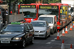 ©  London News Pictures 05/05/2011. The A501 Euston Road Underpass is closed westbound due to an traffic incident. 05/05/2011  Westbound traffic at Euston Underpass is being diverted via Gower Street causing heavy congestion around the surrounding roads. A white box van involved in the incident remains on the westbound lane of the Euston Underpass, both westbound entrance and exit ramps are covered with fuel or oil, the underpass remains closed. Photo Credit should read: Simon Lamrock/LNP