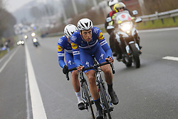 March 23, 2018 - Harelbeke, BELGIUM - Belgian Yves Lampaert of Quick-Step Floors and Dutch Niki Terpstra of Quick-Step Floors pictured in action during the 61st edition of the 'E3 Prijs Vlaanderen Harelbeke' cycling race, 206,5 km from and to Harelbeke, Friday 23 March 2018...BELGA PHOTO YUZURU SUNADA (Credit Image: © Yuzuru Sunada/Belga via ZUMA Press)