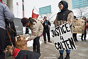 Leo (last name not given), holds a sign and watches tow dogs minutes before a march at the Colten Boushie prayer rally in downtown Windsor, Ontario, Canada. The vigil in front of a courthouse attracts over fifty people.