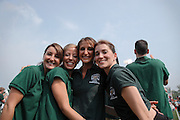Lindsay Anast, Erin Ginley, Katie Gibson, and Liz Kane..Alumni Cheerleaders
