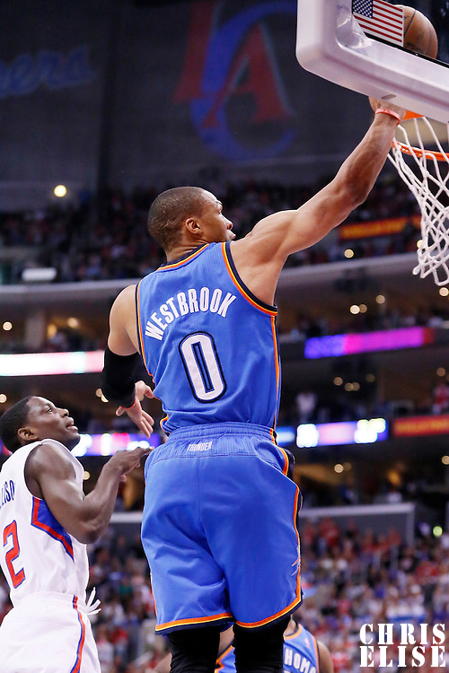 11 May 2014: Oklahoma City Thunder guard Russell Westbrook (0) goes for the lay up during the Los Angeles Clippers 101-99 victory over the Oklahoma City Thunder, during Game Four of the Western Conference Semifinals of the NBA Playoffs, at the Staples Center, Los Angeles, California, USA.