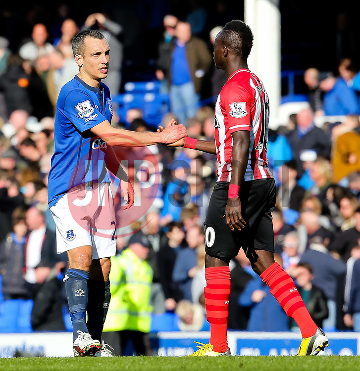 Everton's Leon Osman shakes hands with Southampton's Sadio Mane - Photo mandatory by-line: Matt McNulty/JMP - Mobile: 07966 386802 - 04/04/2015 - SPORT - Football - Liverpool - Goodison Park - Everton v Southampton - Barclays Premier League