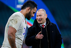 England Head Coach Eddie Jones talks to Number 8 Billy Vunipola after England hang on to win the match 25-21 to lift the Triple Crown having beaten Scotland, Ireland and Wales in the 6 Nations - Mandatory byline: Rogan Thomson/JMP - 12/03/2016 - RUGBY UNION - Twickenham Stadium - London, England - England v Wales - RBS 6 Nations 2016.