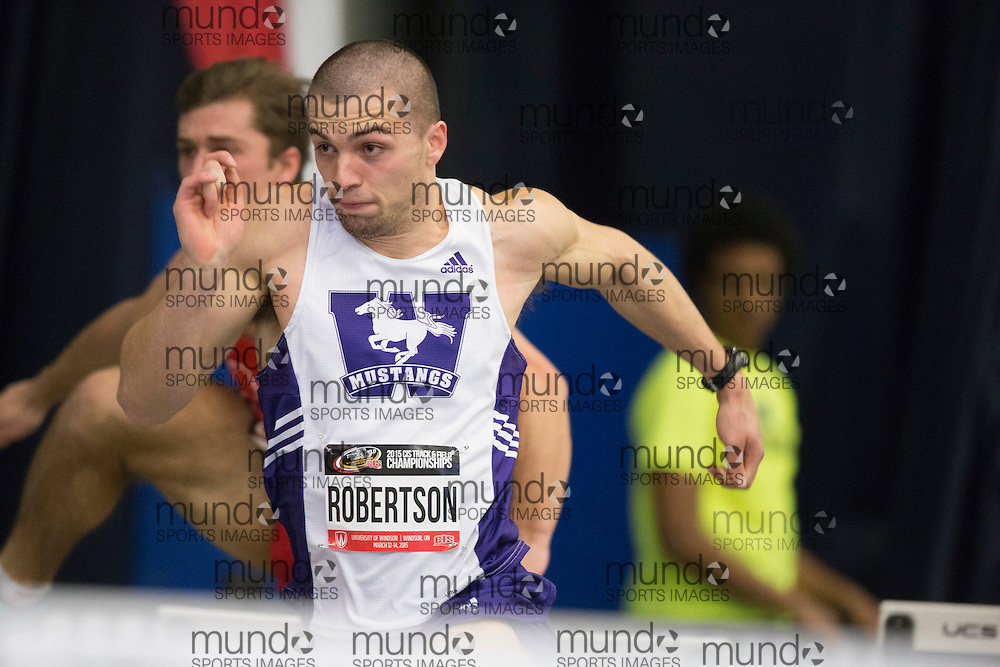 Windsor, Ontario ---2015-03-12---Chris Robertson of Western University  competes in the pentathlon hurdles  at the 2015 CIS Track and Field Championships in Windsor, Ontario, March 12, 2015.<br /> GEOFF ROBINS/ Mundo Sport Images