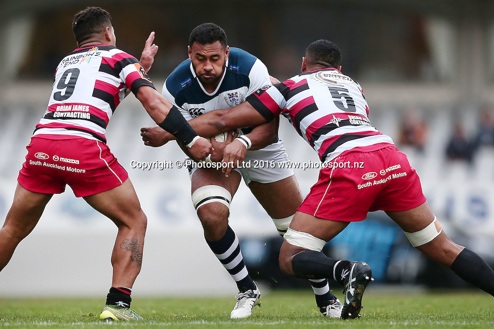 Patrick Tuipulotu of Auckland on the charge. Auckland v Counties Manukau, Mitre 10 Cup, rugby union national provincial championship, Eden Park, Auckland. 18 September 2016. © Copyright Image: www.photosport.nz