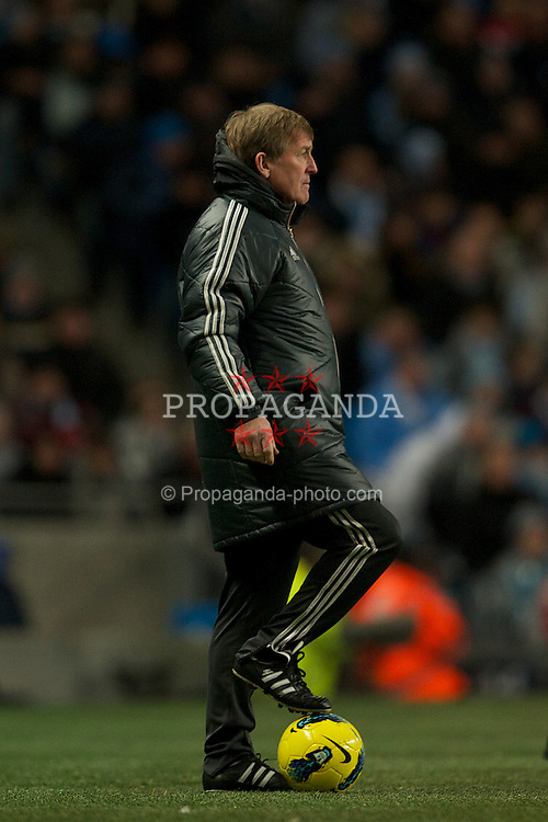 MANCHESTER, ENGLAND - Tuesday, January 3, 2012: Liverpool's manager Kenny Dalglish during the Premiership match against Manchester City at the City of Manchester Stadium. (Pic by David Rawcliffe/Propaganda)