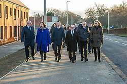 Pictured: John Hamilton, West Lothian Develoiopment Ltd, Fiona Hyslop; Derek Mackay; David Dodds, West Lothian Council, Sir Tom Hunter and Eileen Cook, Deputy Chief Executive of West Lothian Council<br /> Finance Secretary Derek Mackay headed to Winchburgh today to meet developers of new 3,450-home village. As well as the new homes, schools and other associated infrastructure will be built at Winchburgh. Derek Mackay met Sir Tom Hunter and Local MSP, Fiona Hyslop, the developers and West Lothian Council officials.<br /> <br /> Ger Harley | EEm 17 January 2019