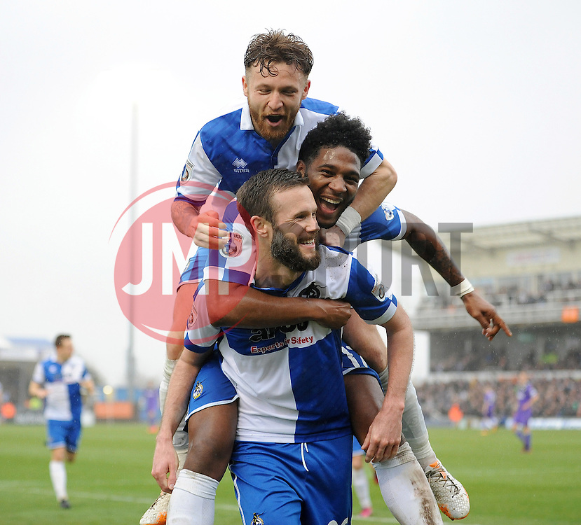 Bristol Rovers' Andy Monkhouse celebrates his goal with Bristol Rovers' Ellis Harrison and Bristol Rovers' Matty Taylor - Photo mandatory by-line: Neil Brookman/JMP - Mobile: 07966 386802 - 03/04/2015 - SPORT - Football - Bristol - Memorial Stadium - Bristol Rovers v Chester - Vanarama Football Conference