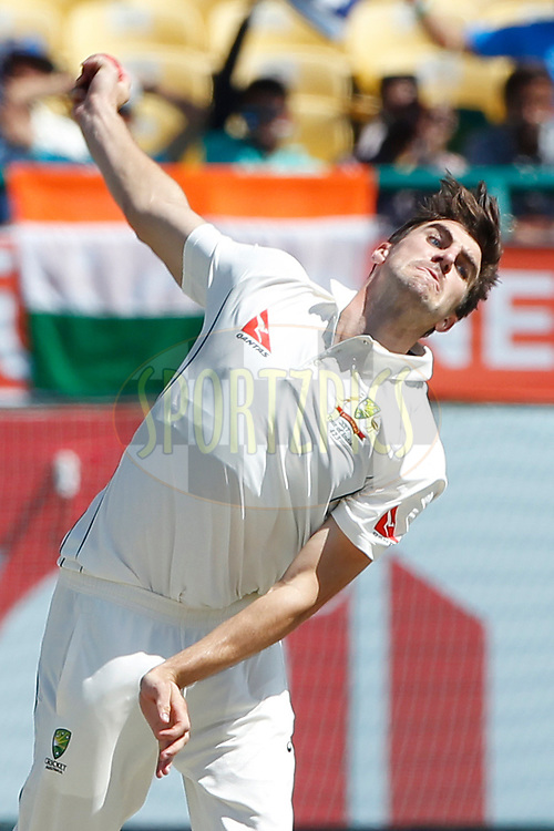 Pat Cummins of Australia bowls a delivery during day two of the fourth test match between India and Australia held at the Himachal Pradesh Cricket Association Stadium on the 26th March 2017.<br /> <br /> Photo by: Deepak Malik/ BCCI/ SPORTZPICS