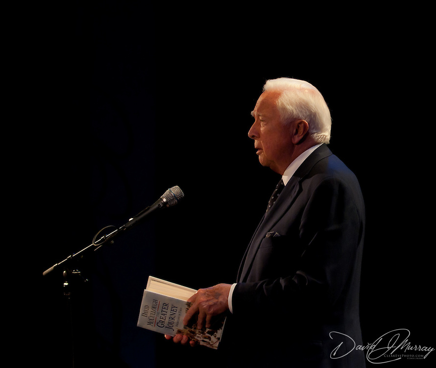 Author David McCullough speaks at the start of a Writers on a New England Stage presentation at The Music Hall in Portsmouth, NH