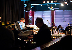 Faculty trio with David Deacon-Joyner on piano perform before the PLU Jazz Ensemble takes the stage at Tula's Jazz Club in Seattle on Sunday, May 3, 2015. (Photo: John Froschauer/PLU)