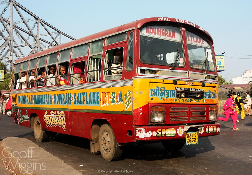 Battered Indian passenger bus at Howrah bus station, Kolkata (Calcutta) West Bengal