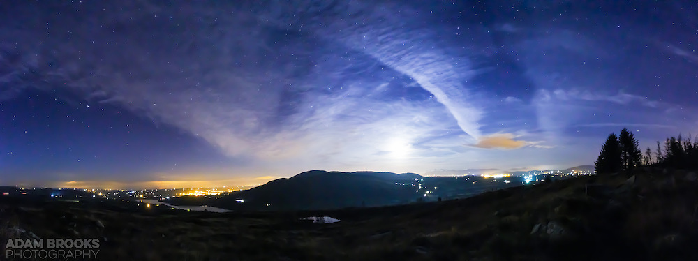 A picture I got before I came home from doing my star trails at Ballintemple Viewpoint overlooking Camlough, Camlough Lake, Camlough Mountain across to Newry and the Mournes in the far distance, with the Full Moon just beginning to rise above Camlough Mountain.