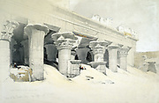 Portico of the sandstone Temple of Edfu (Idfu or Behdet) dedicated to falcon-headed god Horus. Lithograph after watercolour by Scottish artist David Roberts (1796-1864) dated 28 November 1838.
