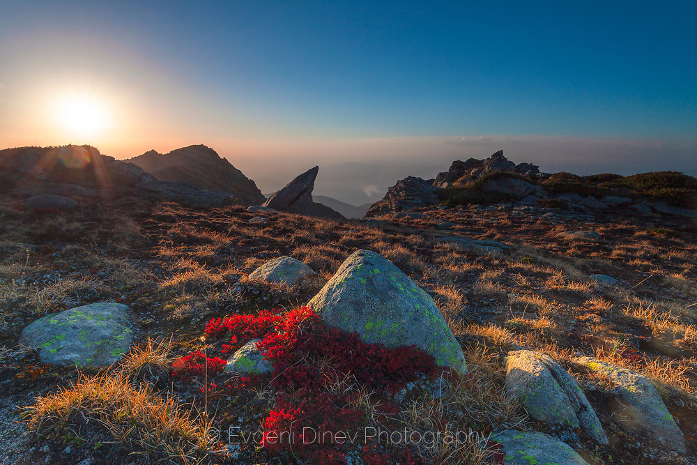 Beautiful sunset in Rila Mountain at the end of September