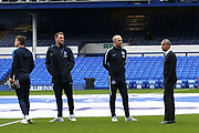 Brighton and Hove Albion Manager Chris Hughton and the players have a look at the Goodison pitch before the Premier League match between Everton and Brighton and Hove Albion at Goodison Park, Liverpool, England on 3 November 2018.
