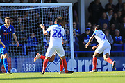 GOAL Jamal Lowe score for Portsmouth 1-1 during the EFL Sky Bet League 1 match between Rochdale and Portsmouth at Spotland, Rochdale, England on 29 September 2018.