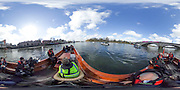 London. UNITED KINGDOM.  360 degree view from the press launch at the Putney start.162nd BNY Mellon Boat Race and The 71st Newton Women's Boat Race on the Championship Course, River Thames, Putney/Mortlake.  Sunday  27/03/2016    [Mandatory Credit. Intersport Images]<br /> <br /> Oxford University Women's Boat Club {OUWBC} vs Cambridge University Women's Boat Club {CUWBC}