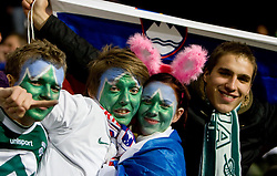 Fans of Slovenia during FIFA World Cup South Africa 2010 Qualifying Second Play off match between Slovenia and Russia, on November 18, 2009, in Stadium Ljudski vrt, Maribor, Slovenia. Slovenia won 1:0 and qualified for the FIFA World Championships 2010. (Photo by Vid Ponikvar / Sportida)