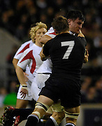 Twickenham. GREAT BRITAIN, Martin CORRY, runs through Richie McCAWS Takle, during the, 2006 Investec Challenge, game between, England  and New Zealand [All Blacks], on Sun., 05/11/2006, played at the Twickenham Stadium, England. Photo, Peter Spurrier/Intersport-images].....   [Mandatory Credit, Peter Spurier/ Intersport Images].