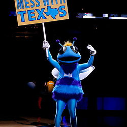 November 17, 2010; New Orleans, LA, USA; New Orleans Hornets mascot Hugo holds a sign prior to a game against the Dallas Mavericks at the New Orleans Arena. Mandatory Credit: Derick E. Hingle