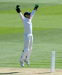 Glamorgan's Mark Wallace unsuccessfully appeals for the LBW of Surrey's Kevin Pietersen. - Photo mandatory by-line: Harry Trump/JMP - Mobile: 07966 386802 - 22/04/15 - SPORT - CRICKET - LVCC County Championship - Division 2 - Day 4 - Glamorgan v Surrey - Swalec Stadium, Cardiff, Wales.