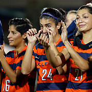 Cal State Fullerton players salute their fans after the Big West Conference semi-final playoff game between the Cal State Fullerton University Titans vs. UC Irvine Anteaters at George Allen Field on November 3, 2016.<br /> <br /> Photo by Darren Yamashita / Sports Shooter Academy