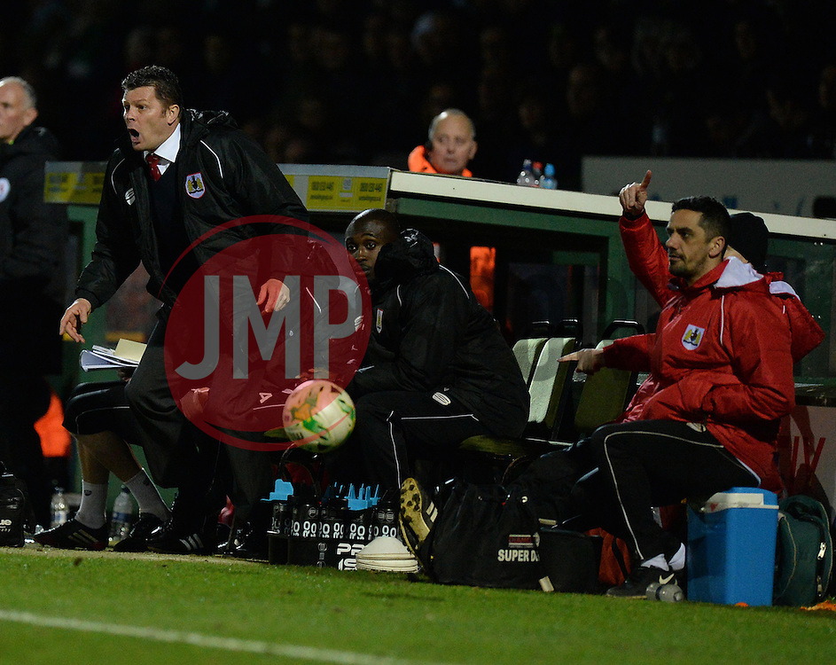 Bristol City manager, Steve Cotterill reacts to the referee decision.  - Photo mandatory by-line: Alex James/JMP - Mobile: 07966 386802 - 10/03/2015 - SPORT - Football - Yeovil - Huish Park - Yeovil Town v Bristol City - Sky Bet League One