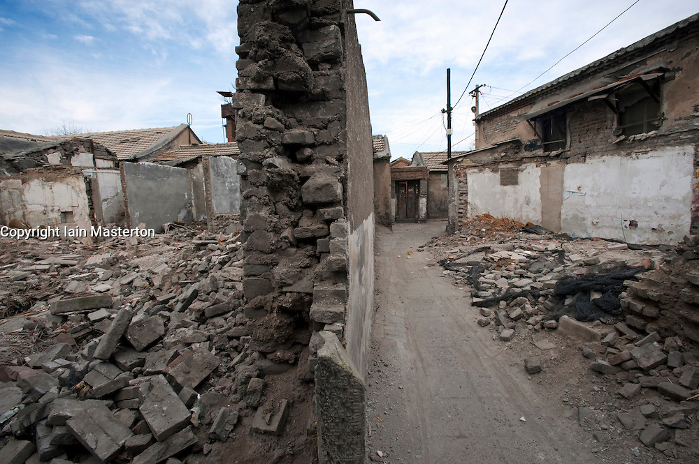 Demolition in progress of historic houses in an area of traditional hutong streets for redevelopment in Beijing 2009