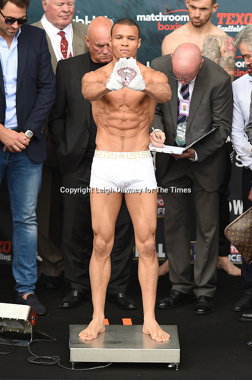 Chris Eubank Jnr shows off his Superman gloves during his weigh in at the West Piazza, Covent Garden, London on the 24th June 2016 ahead of his fight with Tom Doran. © Leigh Dawney for The Times.