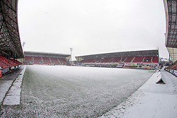 Snow Falls at East End Park, Dunfermline, 16/01/2018<br />