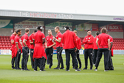Aaron Wilbraham of Bristol City and his teammates check out the pitch after arriving - Photo mandatory by-line: Rogan Thomson/JMP - 07966 386802 - 20/09/2014 - SPORT - FOOTBALL - Highbury Stadium, Fleetwood - Fleetwood Town v Bristol City - Sky Bet League 1.